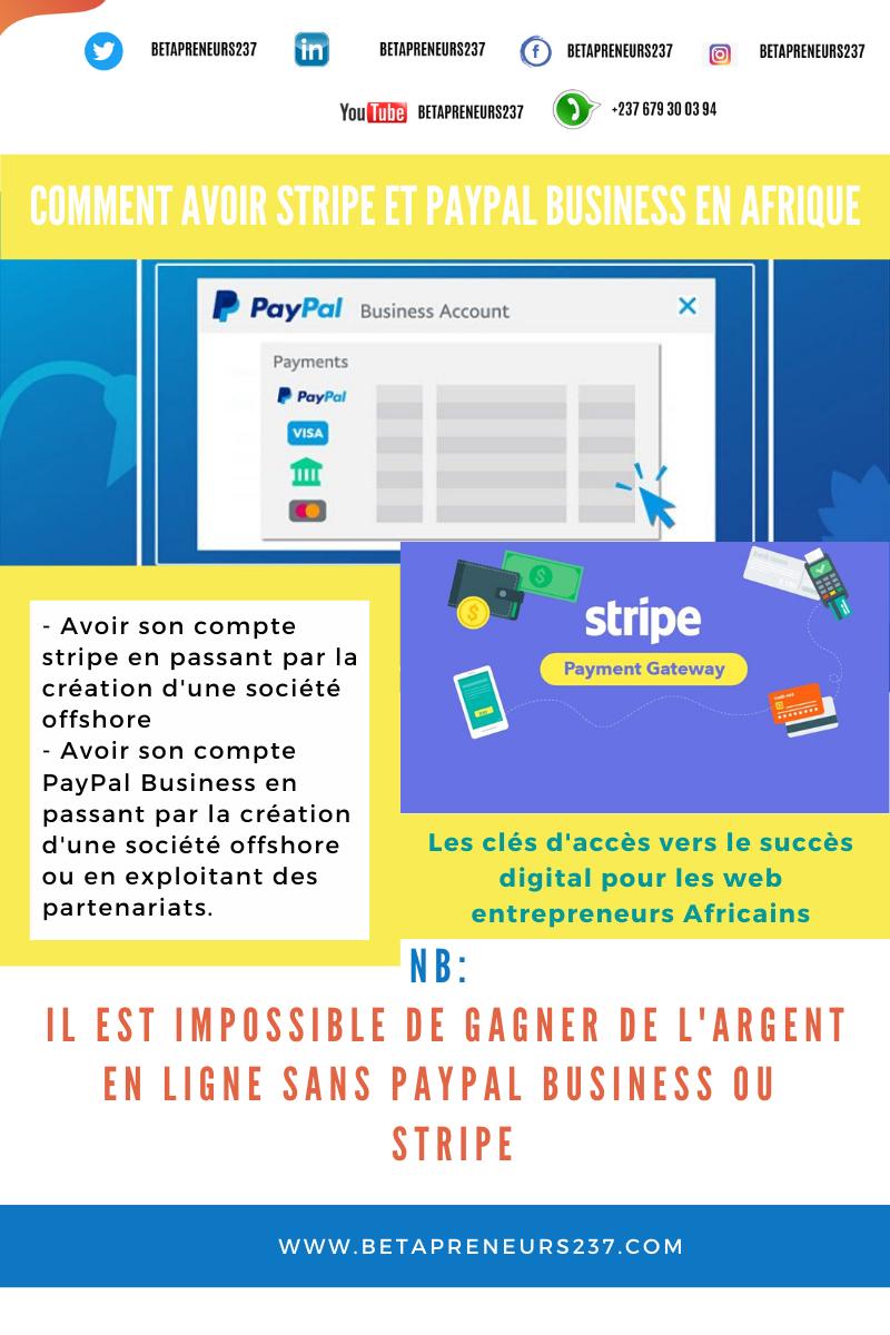 Comment avoir PayPal Business et Stripe en Afrique?